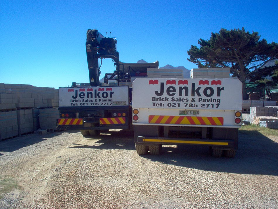 Image of Jenkor Recent Projects Brick Trucks Loading Bricks
