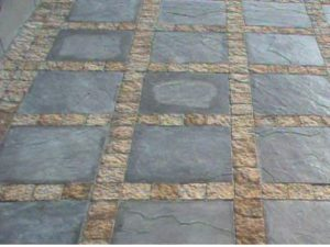Jenkor Charcoal slabs with cobble borders
