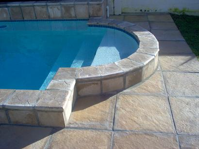 Jenkor Sandstone Slabs and Cladding with Double Poolnose Coping